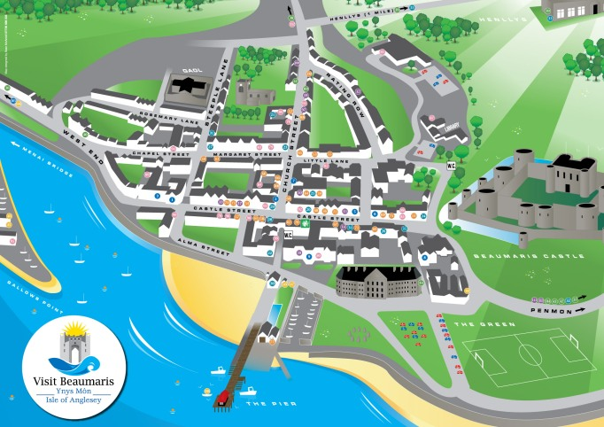L29000910 Visit Beaumaris Town Map & Guide Map 2014 Proof
